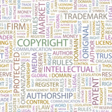 COPYRIGHT. Seamless vector pattern with word cloud.