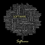 SOFTWARE. Collage with association terms on black background. poster