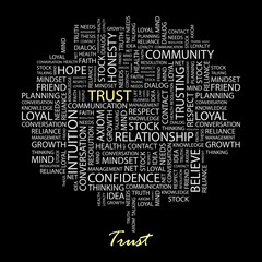 TRUST. Word collage on black background. Vector illustration.