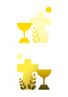 Christliches Abendmahl: Kelch und Kreuz (2 Farbversionen)