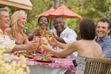 Multi-ethnic couples toasting with wine
