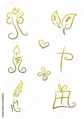 Christliche Symbole für Kommunion und Konfirmation