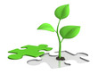 jigsaw puzzle with sprout - growth concept