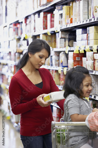 Indian mother shopping in grocery store
