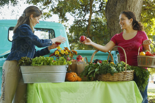 Hispanic women at organic farm stand