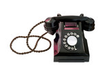 antique black telephone isolated on white