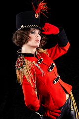 Sexy woman wearing glamour uniform