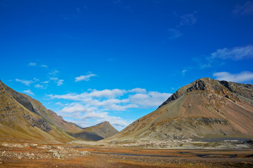 Beautiful clouds over the mountains, East Fjords, Iceland