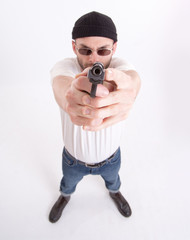 Man in shooting position