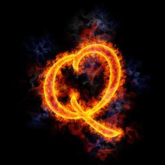 Fiery letter Q.