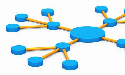Soziales Netzwerk - Partnerschaft 01 - blau orange