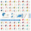 stickers with all european  flags, country names end codes