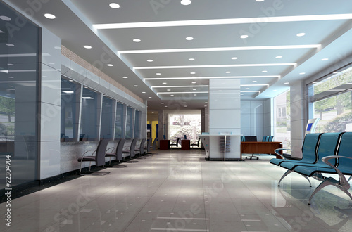 Leinwandbild Motiv modern design interior of business hall. 3D render