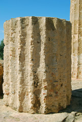 Detail of ancient column in the Valley of Temples in Agrigento