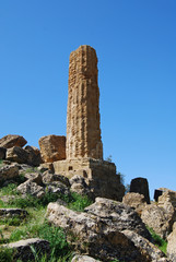 Ancient ruins in the Valley of Temples in Agrigento, Sicily