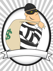 Portrait of Burglar holding bag of money flashlight oval banner