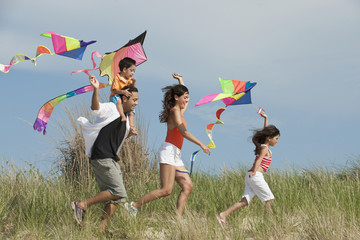 Family flying kites in field