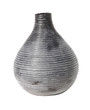 Black Irregular Ribbed Vase With White Background