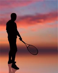 Tennis Player on Sunset Background