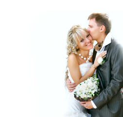 young happy couple on ther wedding day