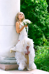 young attractive bride on her wedding day