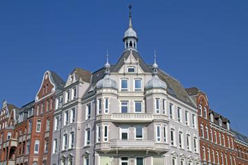 Fassade von Wohngebäuden, Kiel, Deutschland