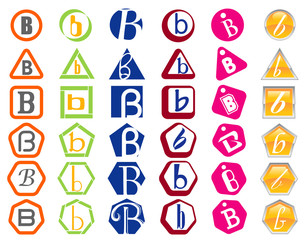Letter B Icons Badges and Tags