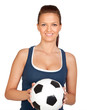 Attractive girl with soccer ball