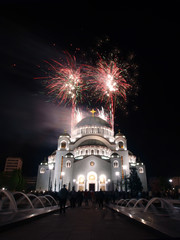 fireworks behind church