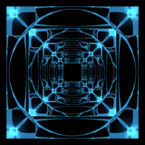 3D rendered blue xray transparent hyper cube poster