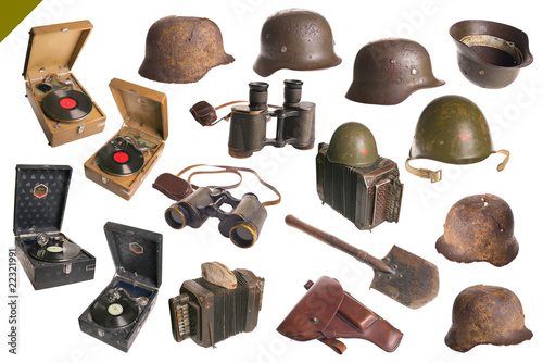 Big set old Vintage ARMY objects isolated with cliping path.