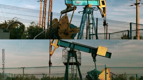 Collage of oil pump jacks in action. Oil industry equipment.
