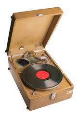 Vintage Russian gramophone isolated with cliping path