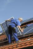 Workman with solar paneel poster