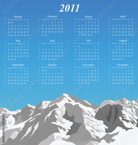 2011 calendar with snow capped mountain range