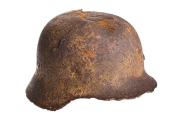 German rusty army helmet world war isolated with cliping path