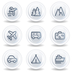 Travel web icons set 1, white glossy circle buttons