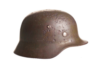 Old German helmet world war on a white background