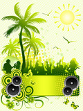 Fototapety Summer disco party flyer on green background