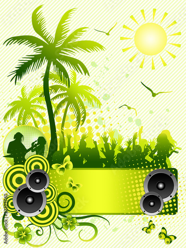 Summer disco party flyer on green background
