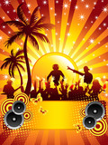 Summer disco party flyer with a dj