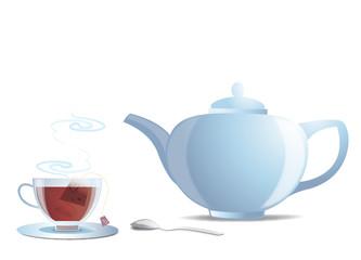 Théière blanche et tasse de thé