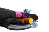 tong,serviette éponge,bronzage et crème solaire poster