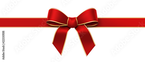 Red silk ribbon with golden edges panorama