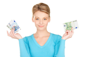 lovely woman with money