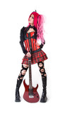 Attractive girl with electro guitar poster