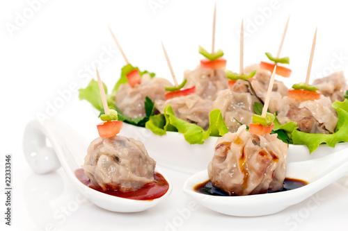 bouch es de viande vapeur cuisine r unionnaise asiatique de frog 974 photo libre de droits. Black Bedroom Furniture Sets. Home Design Ideas