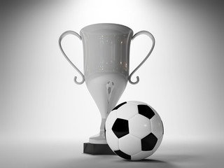 Winner cup and soccer ball