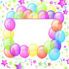 Party Balloons Banner. Vector.