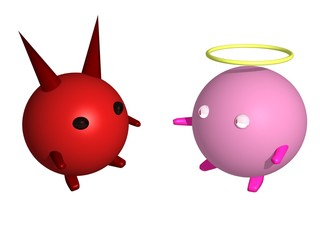 An angel and a devil (3d illustration)